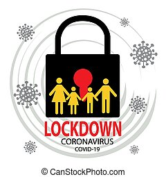 coronavirus, situación, brote, cuarentena, símbolo., epidemia, lockdown, contaminación