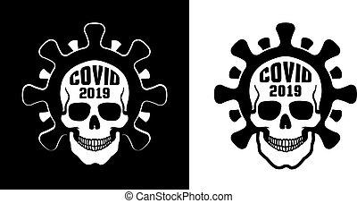 Coronavirus skull logo in stamp style