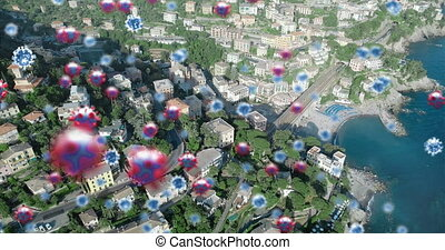 Animation of Coronavirus Covid 19 cells spreading over a general view of a city. Coronavirus Covid 19 pandemic concept digitally generated composite.