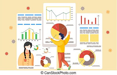 Coronavirus statistics. Prevention covid-19. Lowers the level of disease. Stop the virus. Vector illustration flat design with a woman in protective fase mask. Diagrams and graphs with descriptions