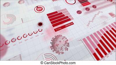 coronavirus, statystyczny, ożywienie, poddawanie procesowi, ...