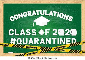 coronavirus, sticker., pizarra, covid-19, vector, verde, saludo, papel, graduación, cartel, bandera, de madera, tarjeta, clase, plantilla, servicio, quarantine., 2020, divertido, frame., gorra