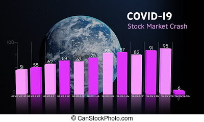 Coronavirus stock market chart over earth.