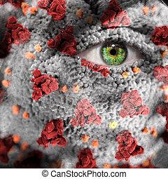 Coronavirus superimposed on a male face