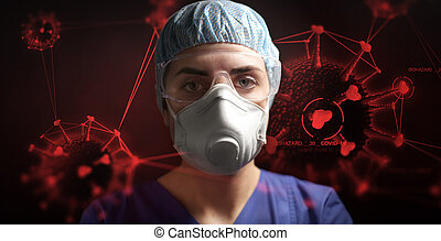 coronavirus, sur, lunettes protectrices, respirateur, ...