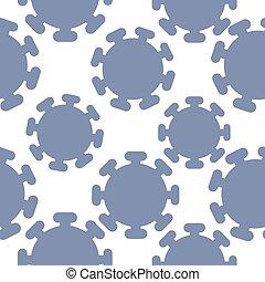 Coronavirus symbol vector seamless pattern background. Simple blue white infographic Covid 19 motif backdrop. Minimal geometric all over print for health, self isolation quarantine concept.