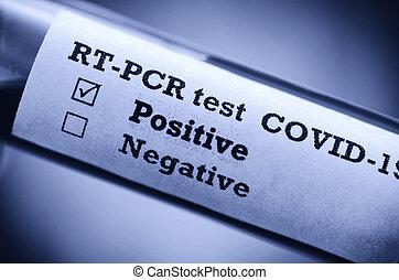 coronavirus, test(novel, 病気, 2019, 写真, チューブ, ポジティブ, 血, 株, covid-19