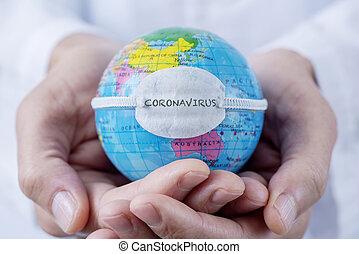 coronavirus, texte, masque, globe