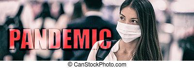 coronavirus, texto, aeropuerto, chino, china., covid-19, bandera, asiático, corona, prevención, virus, máscara, pandemia, novela, gente, mujer, wuhan, fondo., ambulante, 2019, viaje, llevando, multitud, encabezamiento