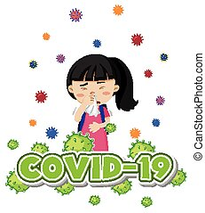 Coronavirus theme with sick girl coughing
