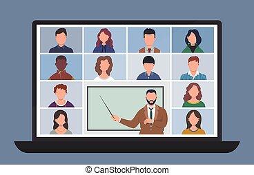 coronavirus, uczniowie, home., szkoła, sztag, teleconference., wykształcenie, badając, wektor, studenci, video, rozmowa telefoniczna, laptop, ilustracja, pojęcie, odległość, przez, podczas, konferencja, online, komputer, class., albo, dom, quarantine., uczyć się