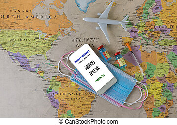 Coronavirus vaccination certificate COVID-19 immunity e-passport smartphone mobile vaccine passport for travellers for international travelling with toy plane in the medical mask on world map