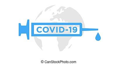 Coronavirus vaccine icon. Covid-19 vaccination syringe sign. Vector illustration.