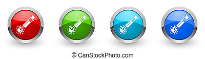 Coronavirus vaccine, injection silver metallic glossy icons, set of modern design buttons for web, internet and mobile applications in four colors options isolated on white background