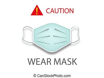 coronavirus, vector, 19, uso, máscara, aislado, icono, ...