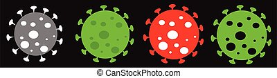 Coronavirus vector icons collection isolated over black background