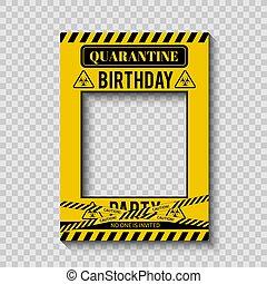 coronavirus, vector, plantilla, cumpleaños, distancing, etcétera, pandemic., cabina, decorations., cuarentena, cartel, foto, frame., bandera, social, covid-19, fiesta