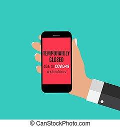 coronavirus, vector, señal de peligro, información, temporalmente, ilustración, news., cerrado