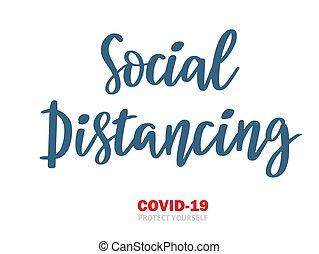 coronavirus, vector, tarjetas, protección, distancing, ilustración, cuarentena, negro, carteles, mano, dibujado, blanco, social, aislamiento, impresiones, letras