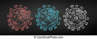 coronavirus, vector, tiza, dibujado, conjunto