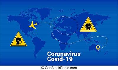 Coronavirus vector world map. Corona virus symbol. Education pictogram.