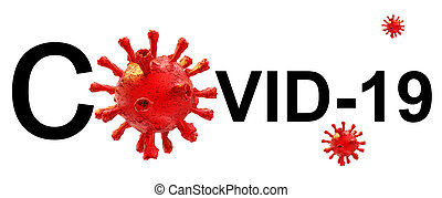 coronavirus, -, vertolking, tekst, vrijstaand, horizontaal, achtergrond, woord, virus, covid-19, 3d
