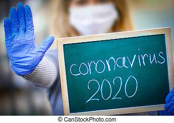 coronavirus, virus., ella/los/las de niña, placa, brote, viral, epidemia, respiratorio, syndrome., hands., corona, china