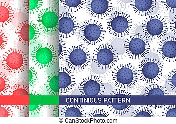 Coronavirus wallpaper vector texture. Beautiful vibrant backdrop for posters, banners, and prints in green, red and blue color isolated on white background. Covid-19 global seamless pattern.