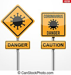 Coronavirus warning and caution square signs set. Vector illustration Isolated on white background.