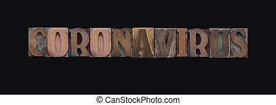 Coronavirus word in wood letters on black