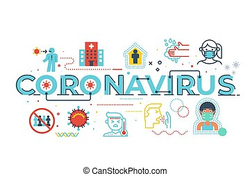 Coronavirus word lettering illustration