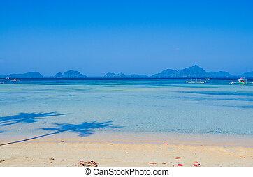 Corong corong beach. Seascape with island in ocean. Palm Shadows on the beach. El Nido, Palawan, Philippines