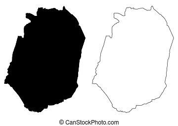 Corozal municipality (Commonwealth of Puerto Rico, Porto Rico, PR, Unincorporated territories of the United States) map vector illustration, scribble sketch Corozal map