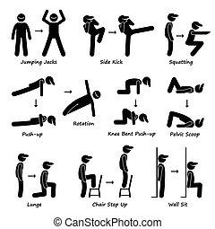 corpo, allenamento, esercizio, idoneità, treno