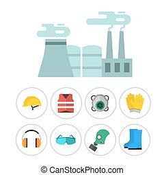corpo, appartamento, industriale, ingranaggio, lavoratore, fabbrica, illustrazione, apparecchiatura, protezione, vettore, sicurezza, clothing., attrezzi, ingegnere