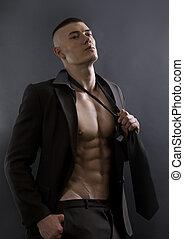 corpo, atletico, giovane, fondo., proposta, sexy, uomo nero