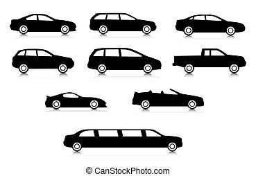 corpo, automobile, differente, silhouette, tipi