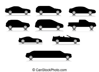 corpo, automobili, differente, silhouette, tipi