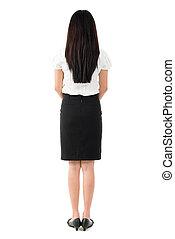 corpo bello, pieno, ragazza asiatica, vista posteriore