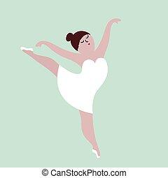corpo, concetto, illustration., ballo, positivo, girl., vettore, più, formato, felice