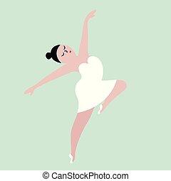 corpo, concetto, illustration., ballo, positivo, girl.,...