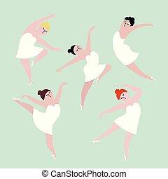 corpo, concetto, illustration., ballo, positivo, set.,...