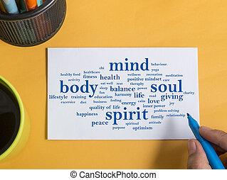 corpo, concetto, motivazionale, mente, anima, citare, parole, spirito