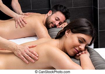 corpo, coppia, giovane, insieme., godere, massaggio