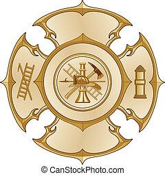 corpo dei vigili del fuoco, croce, oro, vendemmia