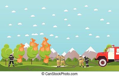 corpo dei vigili del fuoco, vettore, combattimento, banner.