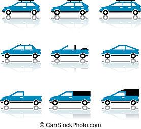 corpo, differente, icone, automobile, stile, vettore