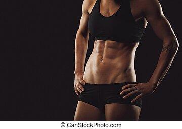 corpo, donna, abs, muscolare