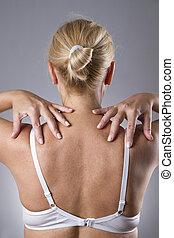 corpo, donna, dolore, spalle., umano