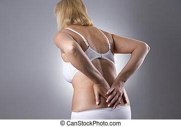 corpo, donna, dolore, umano, backache.